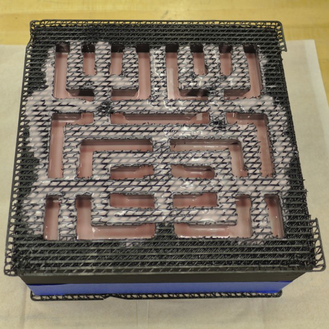 Hilbert curve cake plastic mold filled with silicone