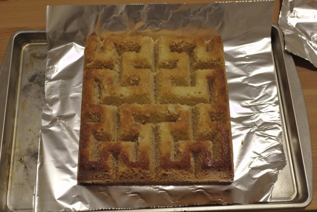 Hilbert curve cake before decoration