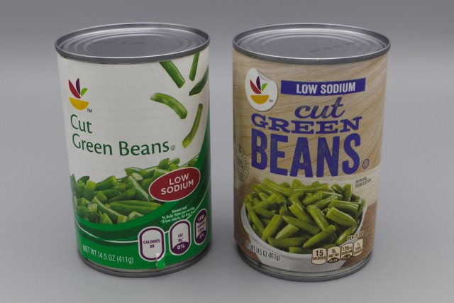 Low sodium green beans cans: old design on left, new design on right
