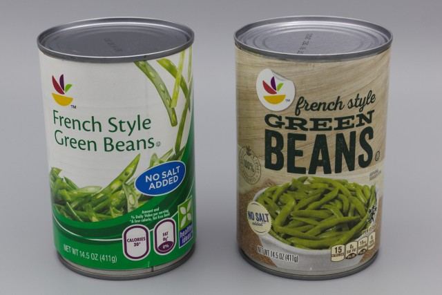 No salt added green beans cans: old design on left, new design on right