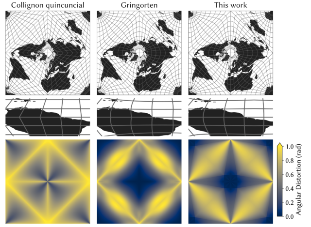 World maps and angular distortion are shown for the Collignon quincunial projection, the Gringorten projection, and the new projection